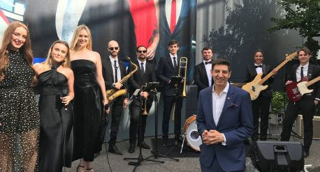 The Eclipse Musicians performing behind Lord Mayor Basil Zempilas.