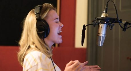 Mattie, Eclipse Musicians vocalist, in the recording studio